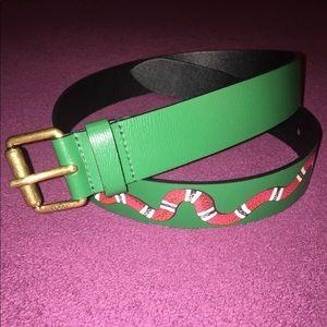 King Snake Belt Genuine Green Leather